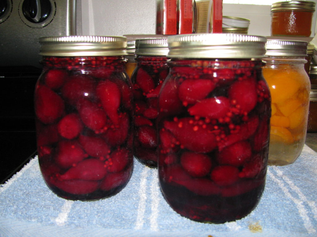 canning supplies, pickled beets