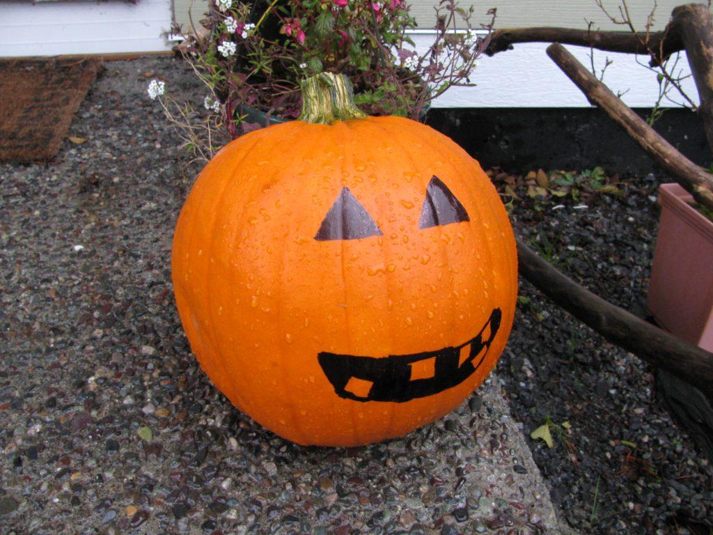 pumpkin on a front porch