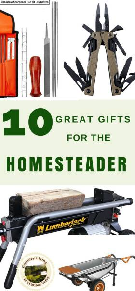 A wood splitter, multi tool and chainsaw filing kit make great gifts for a homesteader