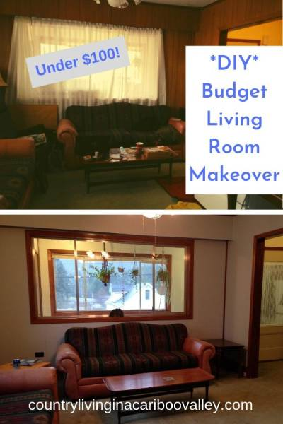 Our budget living room reno cost less than $100. Read about how to paint wood panel walls. Before and after farmhouse reno. We did the bedrooms and basement too. #DIY #homereno #woodpaneling #paint #diyhomedecor
