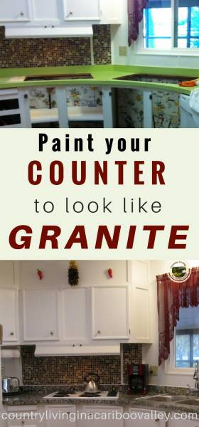 a kitchen counter repainted to look like granite