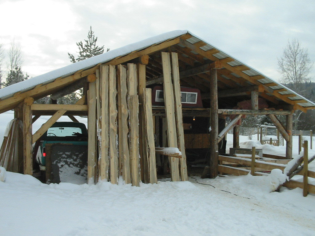 Boards for siding the barn, made from an Alaskan sawmill