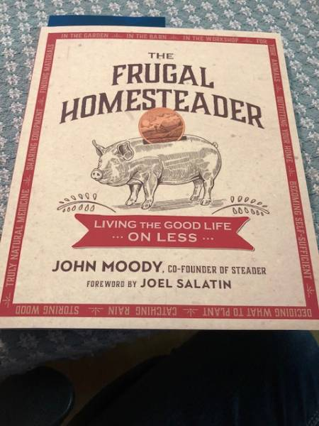 a copy of The Frugal Homesteader book