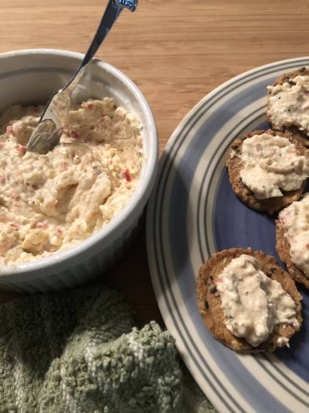 Feta Cheese and Garlic Dip Appetizer Recipe served on crackers