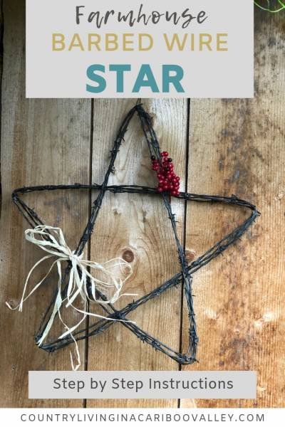 How to make your own Barbed Wire Star. An easy DIY project. Add a country flair to your porch. Barbed wire metal art is a great way to add a rustic farmhouse feel to a country home. #barbedwire #metalart #barbedwireart #barbedwiredstar #farmhousedecor #farmhouseporch