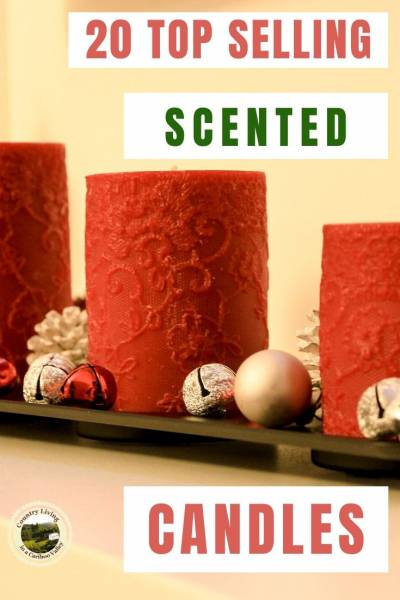 scented candles sit on a fireplace mantel