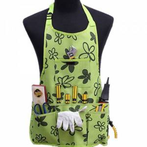 A green gardening apron with lots of pockets
