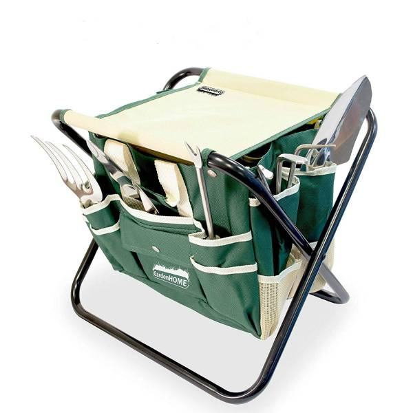 A folding garden set with lots of hand tool storage is a perfect gift idea for gardeners.